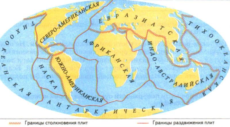 На карте 7 наиболее крупных литосферных плит
